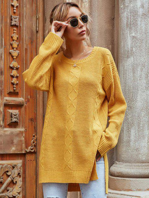best Drop Shoulder High Low Slit Tunic Sweater - YELLOW S Mobile