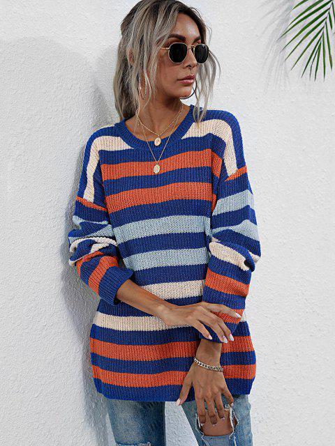 Rundhalsausschnitt Hängender Schulter Gemischte Streifen Pullover - Multi S Mobile