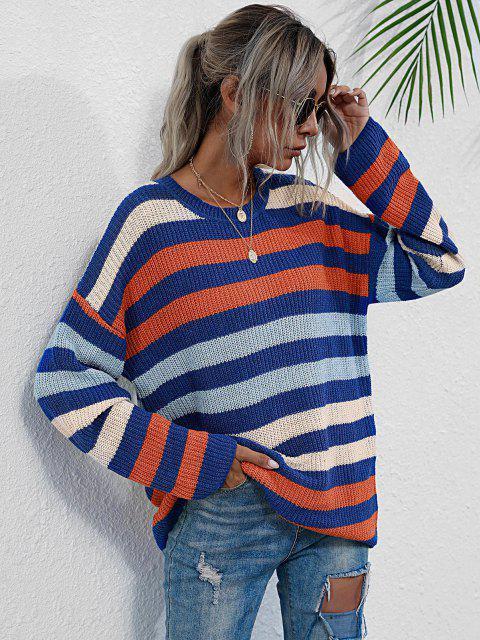 hot Crew Neck Drop Shoulder Mixed Stripes Sweater - MULTI L Mobile