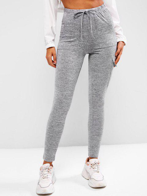 shops Tie Waist Flap Pocket Marled Sports Leggings - DARK GRAY S Mobile