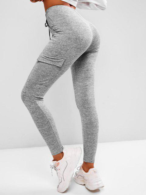shop Tie Waist Flap Pocket Marled Sports Leggings - DARK GRAY L Mobile