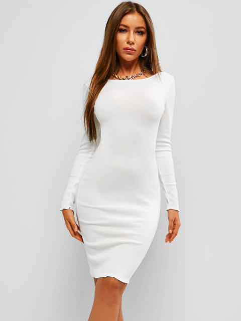 trendy Ribbed Chain Backless Long Sleeve Dress - WHITE M Mobile