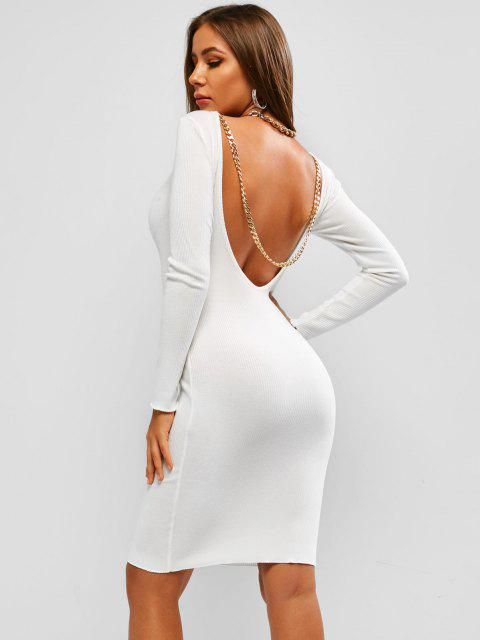 best Ribbed Chain Backless Long Sleeve Dress - WHITE S Mobile