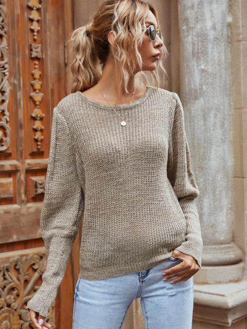 affordable Balloon Sleeve Heathered Crew Neck Sweater - LIGHT COFFEE L Mobile