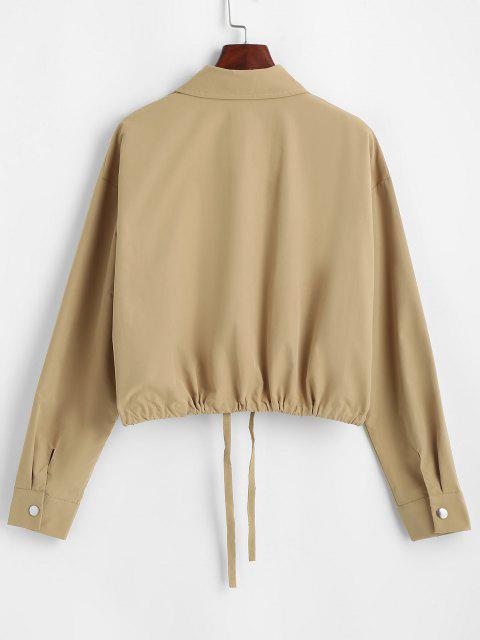 Flap Pocket Front Snap Button Drawstring Hem Jacket - قهوة M Mobile