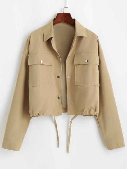 outfits Flap Pocket Front Snap Button Drawstring Hem Jacket - COFFEE M Mobile