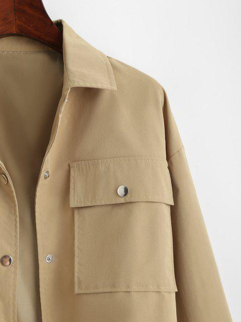 best Flap Pocket Front Snap Button Drawstring Hem Jacket - COFFEE S Mobile