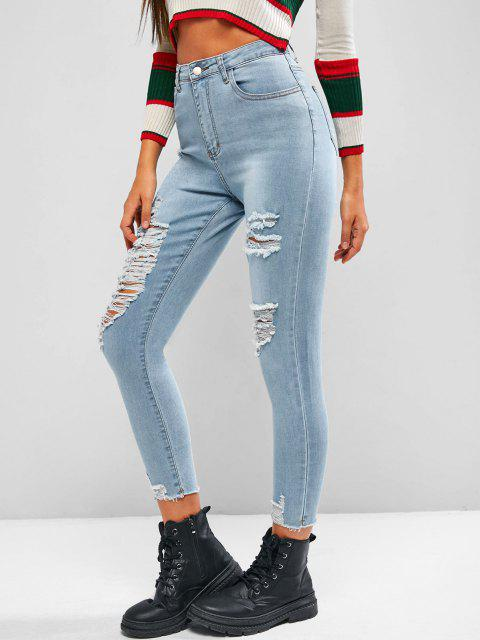 affordable High Waisted Ripped Zipper Fly Jeans - LIGHT BLUE M Mobile