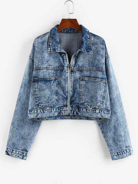 Pockets Zipper Drop Shoulder Denim Jacket - أزرق L Mobile