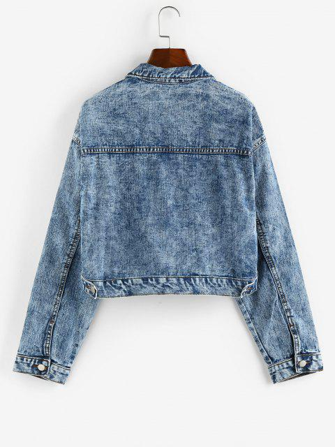 women's Pockets Zipper Drop Shoulder Denim Jacket - BLUE M Mobile