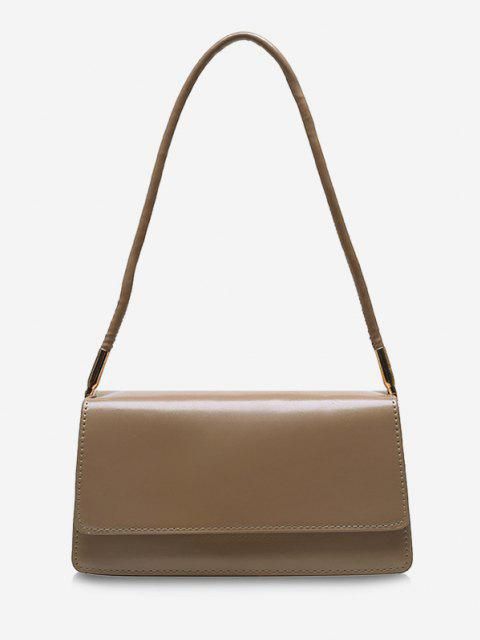 women's Solid Cover Rectangle Shoulder Bag - LIGHT KHAKI  Mobile
