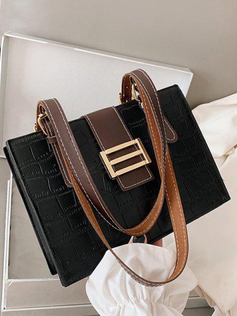 ladies Textured Colorblock Shoulder Bag - BLACK  Mobile