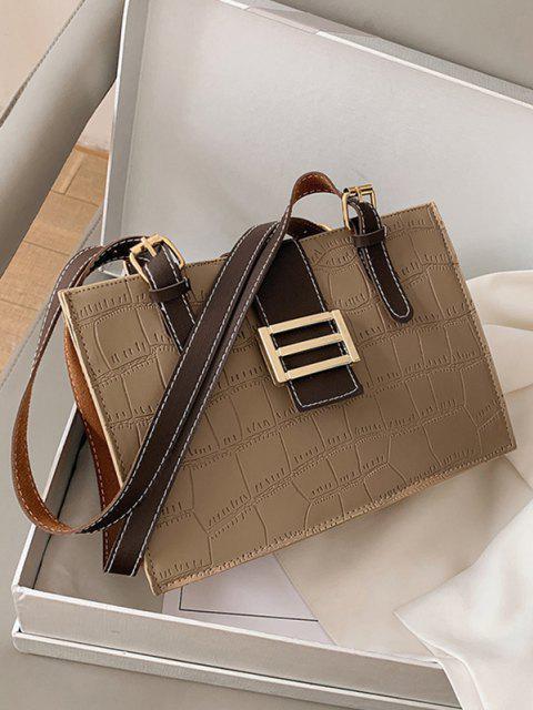 best Textured Colorblock Shoulder Bag - LIGHT KHAKI  Mobile