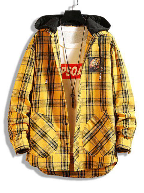 Veste à Capuche Léopard Imprimé à Carreaux en Blocs de Couleurs - Jaune XS Mobile