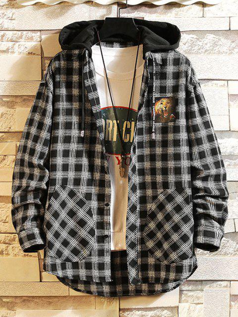 Leopard Print Plaid Colorblock Hooded Shirt Jacket - أسود M Mobile