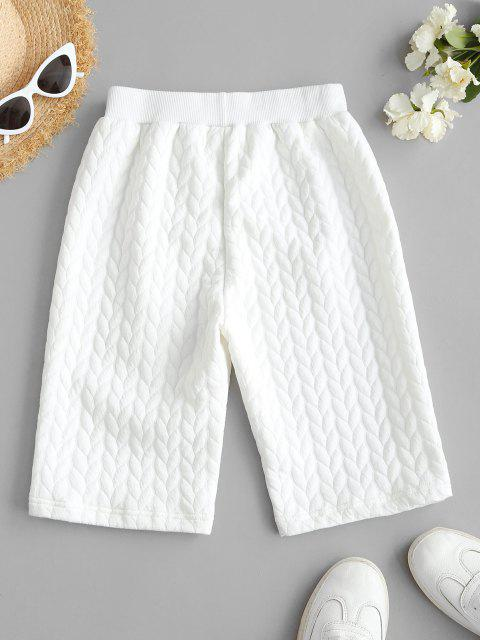 affordable High Waisted Ribbed Trim Biker Shorts - WHITE L Mobile
