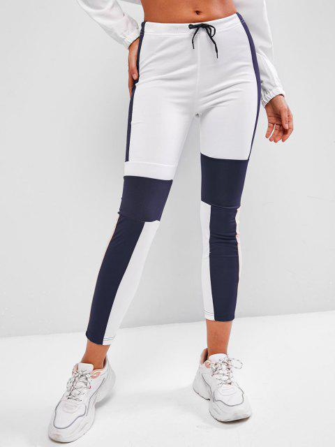 affordable Drawstring Mid Rise Colorblock Leggings - BLUE M Mobile
