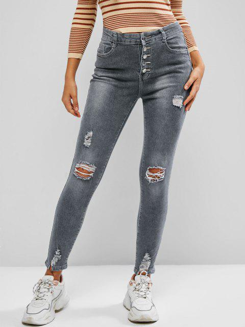 shops Button Fly Ripped High Waisted Skinny Jeans - LIGHT GRAY L Mobile