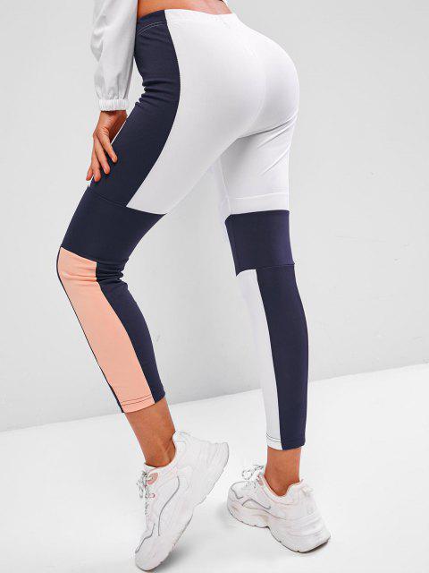 trendy Drawstring Mid Rise Colorblock Leggings - BLUE L Mobile
