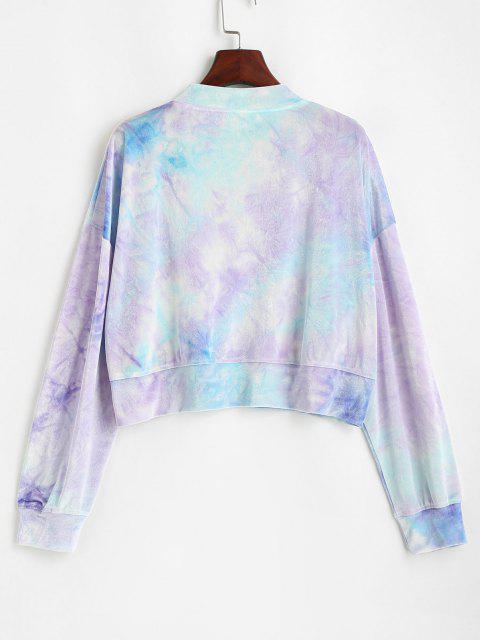 hot Safety Pins Velvet Tie Dye Sweatshirt - LIGHT BLUE L Mobile