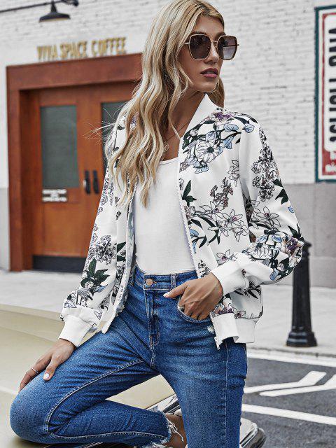best Zip Up Ribbed Trim Floral Jacket - WHITE L Mobile