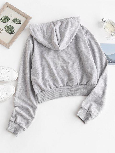 fashion Zip Up Angel Graphic Marled Hoodie - GRAY S Mobile