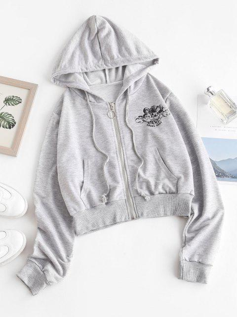 Zip Up Angel Graphic Marled Hoodie - اللون الرمادي M Mobile