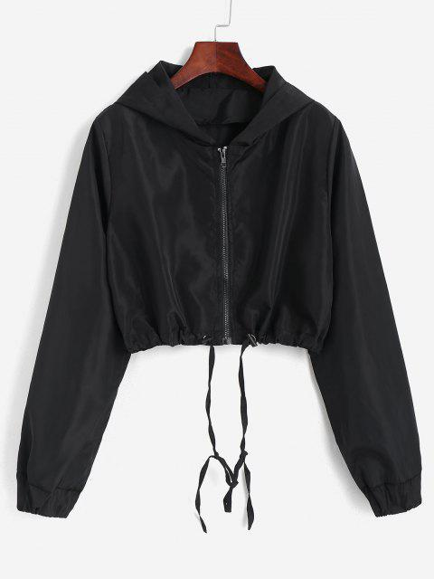 Hooded Cropped Windbreaker Jacket - أسود S Mobile