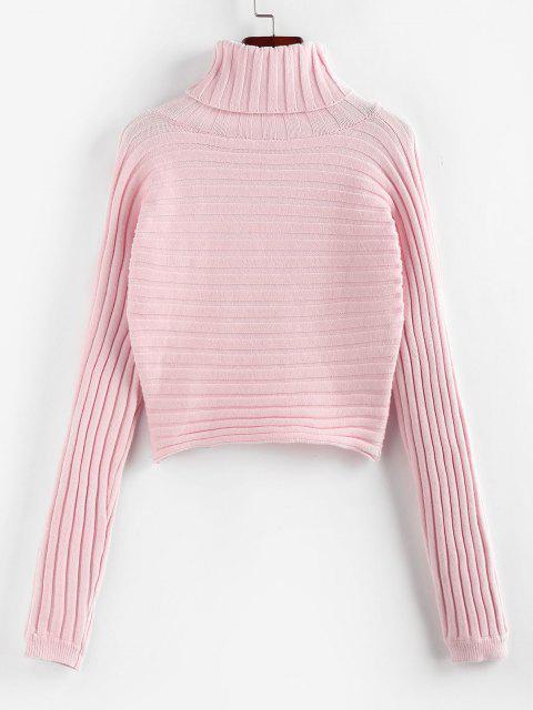 ZAFUL Camisola Jumper de Gola Alta com Nervuras Cortado - Luz rosa L Mobile