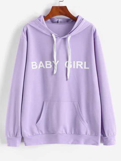 shops ZAFUL Front Pocket BABY GIRL Oversized Hoodie - LIGHT PURPLE S Mobile