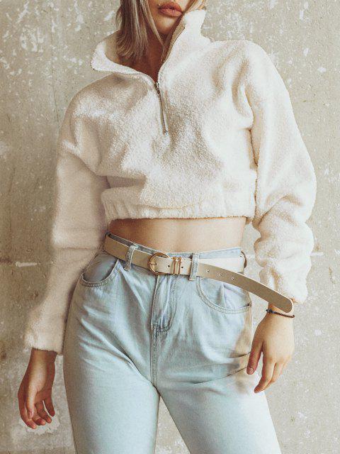 new Half Zip Plain Faux Fur Sweatshirt - WHITE S Mobile
