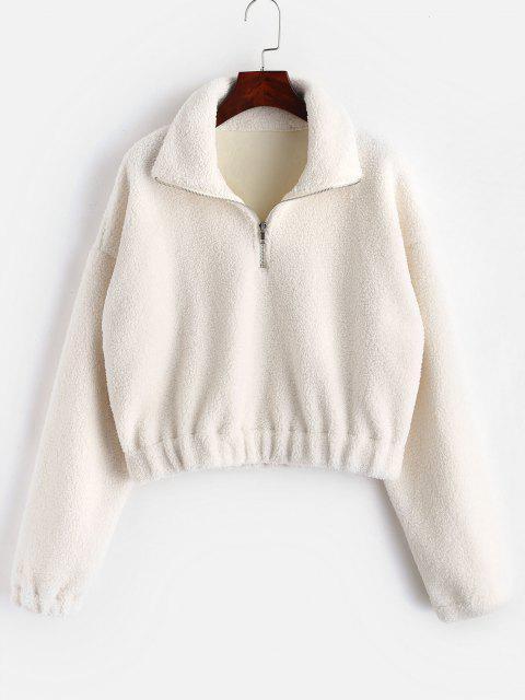 Sweat-shirt Simple à Demi-Zip en Fausse Fourrure - Blanc M Mobile