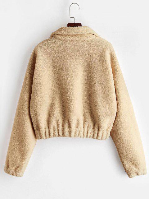 Sweat-shirt Simple à Demi-Zip en Fausse Fourrure - Bronze M Mobile