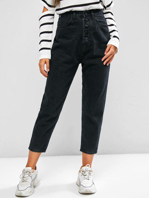 chic Basic High Waisted Tapered Jeans - BLACK L Mobile