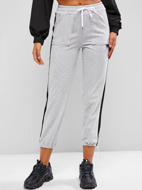 affordable Drawstring Contrast Side Pockets Sweatpants - GRAY CLOUD M Mobile
