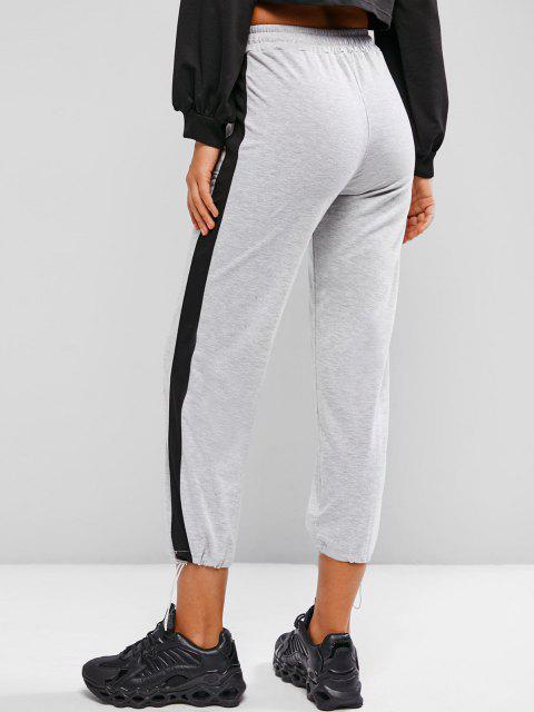 chic Drawstring Contrast Side Pockets Sweatpants - GRAY CLOUD XL Mobile