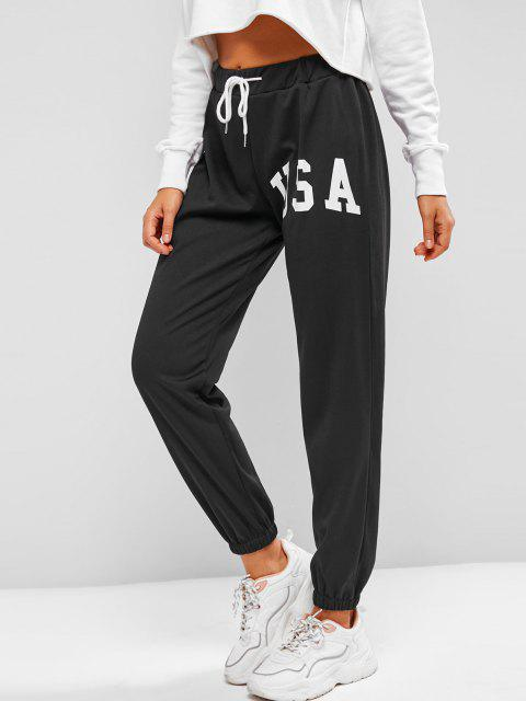 women Drawstring Graphic Fleece Lined Jogger Pants - BLACK M Mobile