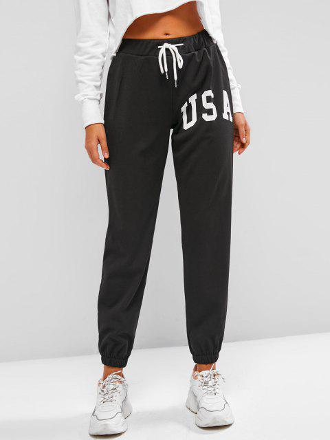 sale Drawstring Graphic Fleece Lined Jogger Pants - BLACK L Mobile