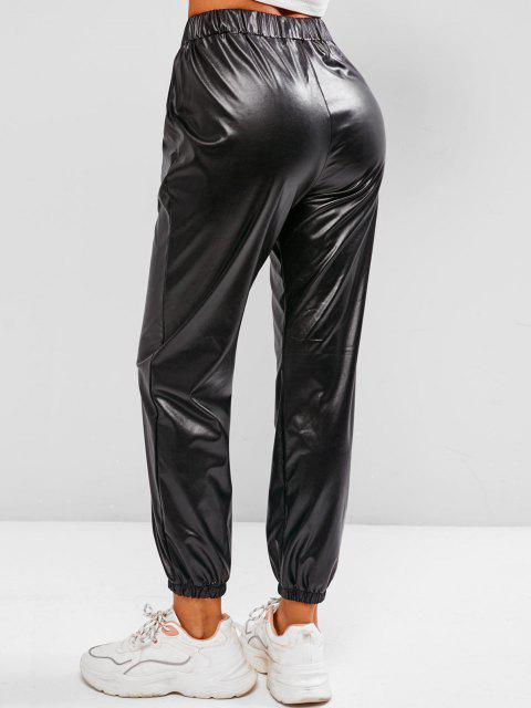 new Pockets Faux Leather High Waisted Pants - BLACK L Mobile