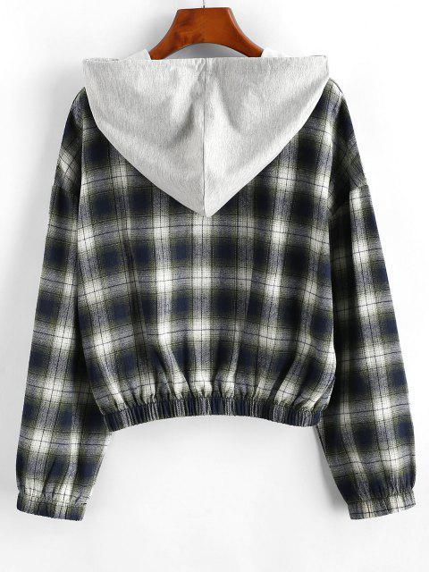 womens Plaid Hooded Zip Drop Shoulder Jacket - GREEN M Mobile