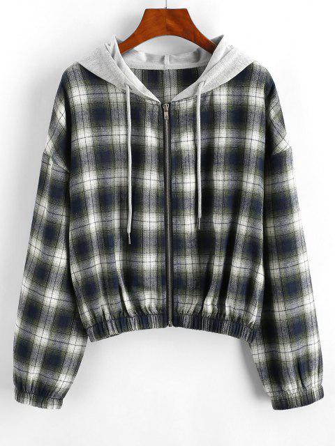 Plaid Hooded Zip Drop Shoulder Jacket - أخضر S Mobile
