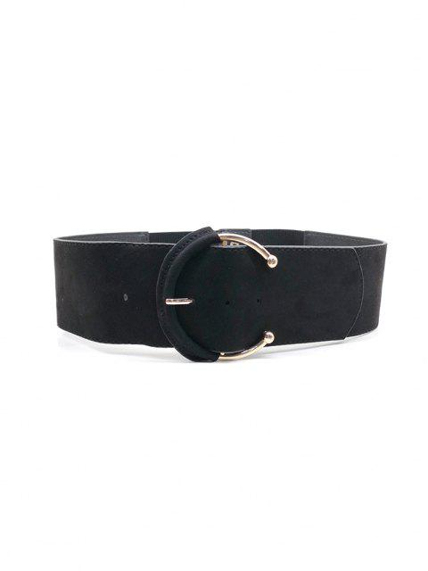 ladies C Shape Buckle Elastic Wide Belt - BLACK  Mobile
