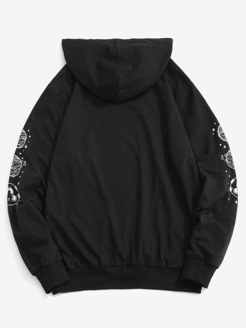 buy Planet Print Kangaroo Pocket Hoodie - BLACK 2XL Mobile