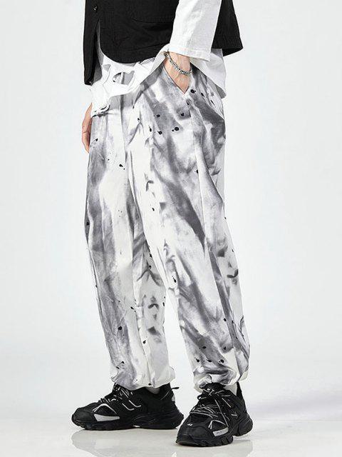 Krawattenfärbende Spritzer Farben Hose mit Elastischer Taille - Weiß XL Mobile