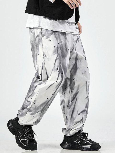 Pantalones de Cintura Elástica de Estampado de Salpicaduras de Pintura de Teñido - Blanco 2XL Mobile