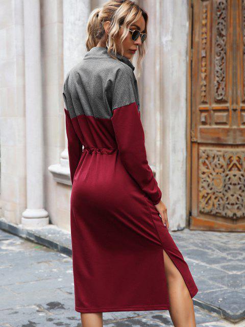 Vestido de Sudadera con Cremallera Frontal con Cordón - Rojo L Mobile