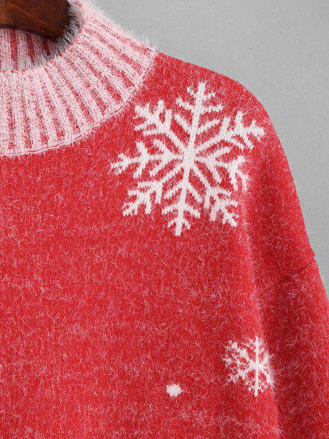 lady Mock Neck Christmas Snowflake Tree Fuzzy Sweater - RED ONE SIZE Mobile