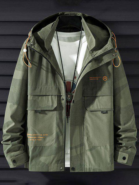 new Camouflage Slogan Print Flap Pocket Hooded Jacket - ARMY GREEN XS Mobile