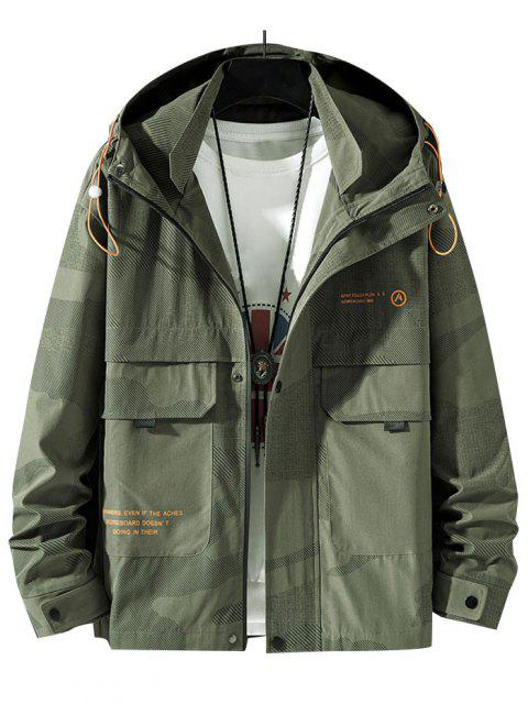 ladies Camouflage Slogan Print Flap Pocket Hooded Jacket - ARMY GREEN S Mobile