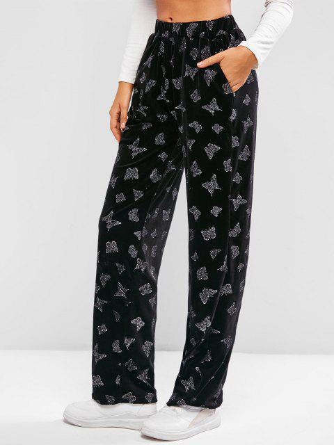 Pantaloni in Velluto Stampati Farfalla con Tasca di ZAFUL - Nero M Mobile